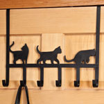 Decorations & Accents - Playful Black Cat Over the Door Hooks