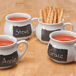 New - Ceramic Soup Mugs with Chalkboard, Set of 4