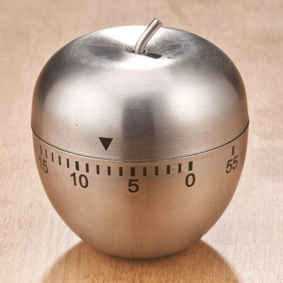 Stainless Steel Apple Timer Shining with display-worthy style, this elegant stainless steel apple timer looks pretty ... works hard. Downright dependable for everyday use, the stainless steel kitchen timer tracks cooking time with brilliant simplicity (no fancy settings or digital dials). Simply twist top half to line up minutes from 1 to 60, then relax and wait for the audible bell to catch your attention when time's up. Cooking timer measures 2 3/4 high x 2 1/4 diameter.