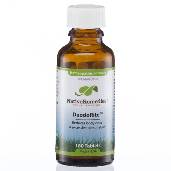 NativeRemedies DeodoRite - 180 Tablets Temporarily relieves body odor by improving the natural cleansing functions of the bodyRelieves all unpleasant body odorsReduces excessive personalizedpirationCleanses the body of toxinsImproves liver functioningDeodoRite is a safe, non-addictive, natural remedy formulated by our team of experts in natural medicine, containing 100% homeopathic ingredients especially selected to temporarily relieve body odor by addressing the underlying causes and improving the natural cleansing functions of the body.By naturally increasing the elimination of toxins, DeodoRite thus helps support healthy liver functioning and temporarily reduces excessive personalizedpiration.This remedy is taken internally and presented in small tablet form. It is easy to ingest and hassle-free with no artificial colors or preservatives.All Native Remedies homeopathic products and biochemic tissue salts are manufactured in a FDA-registered and cGMP-compliant pharmaceutical facility under the supervision of qualified homeopaths and responsible pharmacists. Individual ingredients are listed in the Homeopathic Pharmacopoeia of the United States (HPUS).* These statements have not been evaluated by the Food and Drug Administration. This product is not intended to diagnose, treat, cure or prevent any disease.|||Ingredients DeodoRite is a 100% homeopathic formula and contains the following ingredients: Calc sulph 6X HPUS, Carduus mar 3X HPUS, Galium 3X HPUS, Mag phos 8X HPUS, Merc solub 30C HPUS, Silicea 8X HPUS. Galium 3X HPUSCarduus mar (Milk thistle) 3X HPUSSilicea 8X HPUSCalc sulph 6X HPUSMag phos 8X HPUSMag phos 8X HPUSMag phos 8X HPUS|||Usage Chew or dissolve these small, pleasant-tasting tablets directly in the mouth. Alternatively for small babies, crush tablets and sprinkle onto tongue.Adults & Children 12+: Take 2 tablets 3 times daily.Children under 12: Take 1 tablet 3 times daily.A homeopathic remedy can be taken 10 minutes after a meal, or 30 minutes after