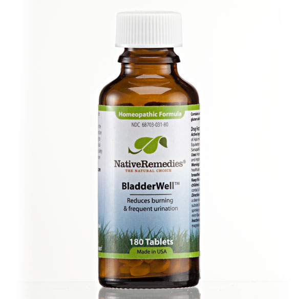 BladderWell Homeopathic Remedy - 180 tablets Temporarily relieves bladder symptoms of burning, frequent urination and irritationRelieves the sensation of burning while urinatingEliminates the urge for frequent urination while passing minimal urineLessens bloating and assists the body with natural water balanceDecreases lower back painBladderWell is a safe, non-addictive, natural remedy, containing 100% homeopathic ingredients selected to temporarily relieve bladder symptoms of burning, frequent urination and irritation.BladderWell is taken internally and available in two forms, dissolvable tablets or small pellets. Both forms are easy to ingest and hassle-free with no artificial colors or preservatives.All Native Remedies homeopathic products and biochemic tissue salts are manufactured in a FDA-registered and cGMP-compliant pharmaceutical facility under the supervision of qualified homeopaths and responsible pharmacists. Individual ingredients are listed in the Homeopathic Pharmacopoeia of the United States (HPUS).* These statements have not been evaluated by the Food and Drug Administration. This product is not intended to diagnose, treat, cure or prevent any disease.|||Ingredients BladderWell is 100% homeopathic, contains these ingredients, and has the following indications (purposes): Apis mel 30C HPUS, Cantharis 30C HPUS, Equisetum arv 30C HPUS, Ferrum phos 8X HPUS, Sarsaparilla 30C HPUS.Apis mellifica 30C HPUS: burning and soreness when urinating, frequent and involuntary incontinence.Cantharis 30C HPUS: urge to urinate, pains in the bladder and urethra.Equisetum 30C HPUS: urgent desire to urinate, discomfort in renal region, mainly right side.Ferrum phos 8X HPUS: urine spurts with every cough, incontinence, excessive passing of urine.Sarsaparilla 30C HPUS: urine scanty, slimy, flaky, sandy, pain at conclusion of urination.Lactose: (inactive ingredient)|||Usage Chew or dissolve these pleasant-tasting tablets directly in the mouth. Alternatively, for small babie