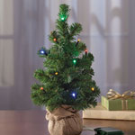 "New - 14"" Burlap Tree with Lights"