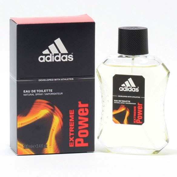 Adidas Extreme Power For Men, EDT Spray Adidas Extreme Power for men combines the feeling of power and stamina in its aromatic-woody scent. Perfect for the active man, this fragrance for men is zesty, sporty and effervescent.; top notes of lemon, bergamot and galbanum, middle notes of coffee and tonka bean and base notes of white cedarwood, patchouli and sandalwood. An EDT spray. 3.4 fl. oz. men's fragrance. No express shipping. Please allow 3-4 weeks delivery time. No shipping to PO boxes.