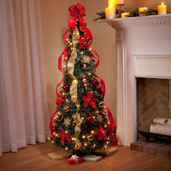 4-Ft. Pull-Up Fully Decorated Tree - Pull Up Christmas ...