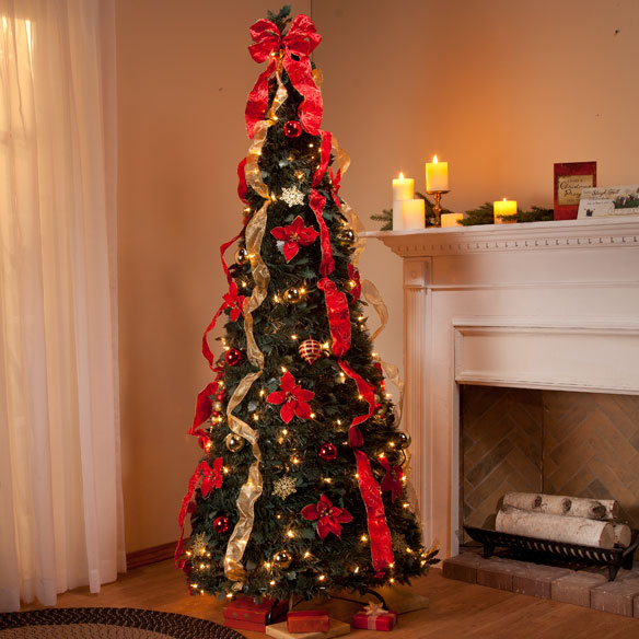 6-Ft. Pull-Up Fully Decorated Tree - Pull Up Christmas ...