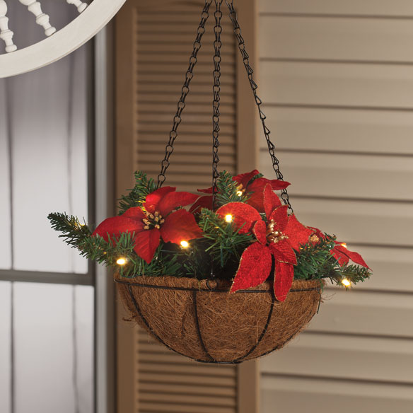 10 Quot Lighted Poinsettia Hanging Basket