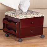 Accent Furniture - Floral Vine Multi Storage Rolling Ottoman by OakRidge™ Accents