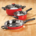Bakeware & Cookware - 5 pc Red Stainless Cookware Set by Home-Style Kitchen™