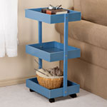 Accent Furniture - Blue 3-Tier Wooden Rolling Cart by OakRidge Accents™