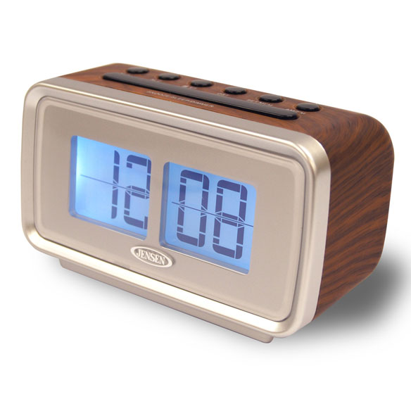 jensen am fm dual alarm clock with digital flip display walter drake. Black Bedroom Furniture Sets. Home Design Ideas