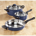 Bakeware & Cookware - 5-pc. Blue Stainless Cookware Set by Home-Style Kitchen™