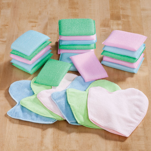 Sponge and Cleaning Mitt Set, 24 Pc. Keeping you well stocked for any cleaning task, this set 24-pc. sponge and cleaning mitt set includes 18 scrub sponges and 6 cleaning mitts in green, pink and blue. Made to work and priced to please, the textured cleaning sponges offer extra scrubbing power for pots, pans, sinks and stovetops, while soft cleaning mitts win  hands down  for dish drying, dusting, buffing, polishing and general cleaning chores. Sponges: 5 1/2 long x 3 1/2 wide x 1/2 high. 100% polyester mitts: 9 1/4 long x 7 3/4 wide; machine wash.