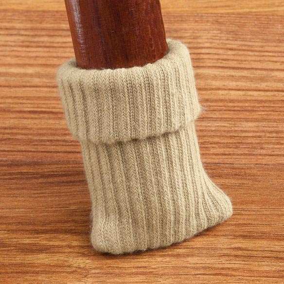 Furniture Socks - Set of 8 Furniture socks protect your floors and your furniture from scratches and damage. Ribbed furniture feet help chairs slide quietly and easily - no more felt pads falling off. Cotton and spandex stretches for an easy fit. Furniture glides are great for chair, tables and antique pieces. Available in 4 colors to complement any decor: black, white, tan or chocolate brown. Set of 8. Machine wash; tumble dry low.
