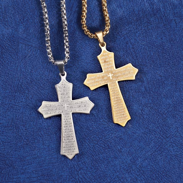 personalized lord s prayer cross necklace cross necklace