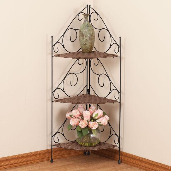 Three Tier Wicker   Metal Corner Shelves by OakRidge Accents   Walter. Watch more like Metal Corner Shelves