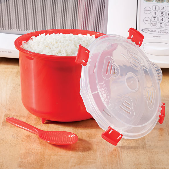 Microwave Rice Steamer A quick, easy way to get your grains! Microwave rice steamer helps you prepare rice, quinoa, couscous and more -- healthfully and in minutes. Vents in lid release just the right amount of steam for perfect results every time. Easy-lift handles and clips on lid ensure safe, easy use. 11-cup capacity is ideal for individual portions or family dinners. Microwave rice cooker includes spoon for easy stirring and fluffing. 6  H x 7 1/2  dia. Dishwasher-safe, thick, durable plastic.