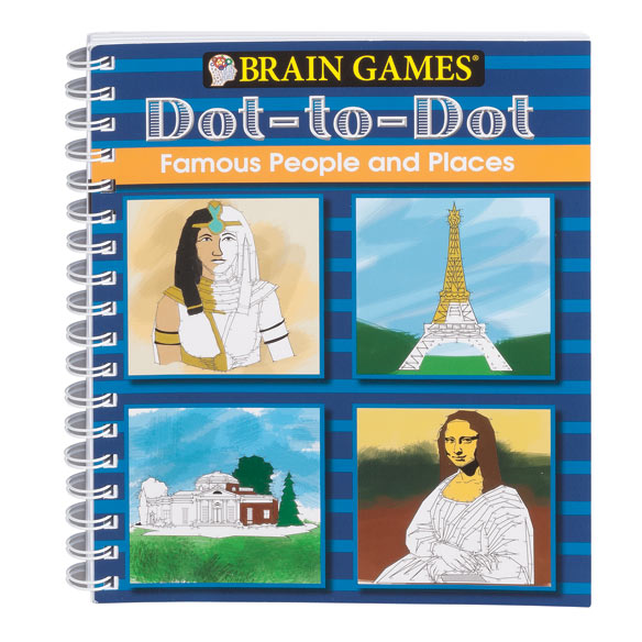 Brain Games Famous People Dot-to-Dot Puzzle Book Brain Games Famous People dot-to-dot puzzle book is a fun and easy way to enhance focus and problem-solving skills. This dot-to-dot book features 125 puzzles, some with more than 250 dots to connect. Incredibly detailed drawings include U.S. presidents and other famous people, cultural landmarks, renowned paintings and more. Spiral binding keeps this Brain Games book flat during use. Solutions included at back of book. 160 pages of entertainment! 9 1/4  L x 8  W when closed.