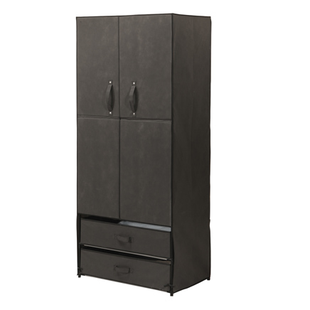 Clothing Wardrobe with Magnetic Doors XL Customize this versatile temporary clothing wardrobe with magnetic doors to meet your needs. Two doors feature easy-open handles with secure-close magnets. Inside, you'll find 2 shelves and a 27  L hanging rod. Below the doors are 2 handy drawers that can be removed to make shelves -- you choose! Sturdy steel frame with dark, neutral canvas complements any decor and is easy to wipe clean. This lightweight portable wardrobe is perfect for bedroom, guest room, laundry area and more! 68  H x 17 7/8  W x 28 3/4  L overall. Drawers each measure 27 1/2  L x 17 1/4  W x 6 3/4  H. Shelves are 27 1/4  L x 17  W x 3/4  H. No express shipping; add $5.