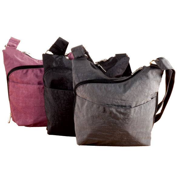 Patch leather rolling bag