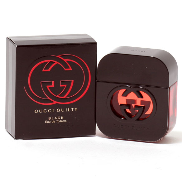 Gucci Guilty Black Women, EDT Spray Gucci Guilty Black is a floral oriental perfume for women that's versatile enough for a night out or a casual daytrip. This seductive women's fragrance opens with red berries and pink pepper. Florally sweet middle notes of violet, peach and lily are warmed by a spicy base of patchouli and amber. 1.7 fl. oz. An EDT spray. No express shipping. Please allow 3-4 weeks delivery time. No shipping to PO boxes.
