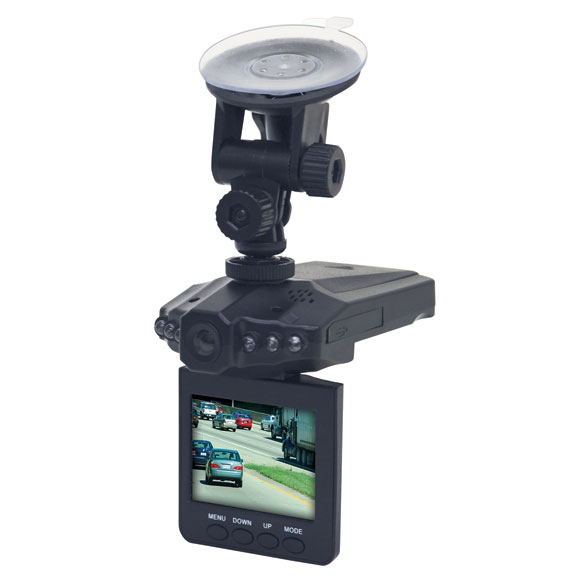 Car Video Camera Providing clear, HD video recording day or night, this dashboard car video camera proves invaluable in the case of an accident-rendering visual evidence which could help you avoid fraudulent claims. It digitally records video audio and still-image photos, capturing traffic and road conditions while you drive. Featuring a 2.5 LCD screen, the car camera easily mounts to any auto windshield, and swivels for desired view and playback. Digital video camera includes USB transfer cable and car charger; supports up to a 32GB memory card (not included) which records up to 10 hours. Plastic.