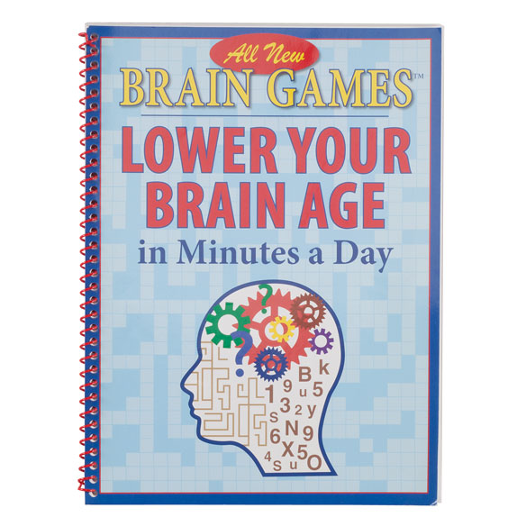 Brain Games Lower Your Brain Age Think young! Brain GamesTM Lower Your Brain Age is packed with a variety of challenging brain games for adults to exercise your brain and stay sharp. Lower your brain age with games like anagrams, crosswords, cryptograms, mazes, word searches, and language, math observation and visual logic puzzles. Spiral binding lies flat for easy use at home or on the go. soft cover brain teaser games book; 96 pages.