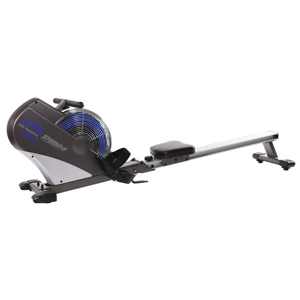 Stamina ATS Air Rower 1402 Condition and tone all major muscle groups with while minimizing impact to joints with the Stamina ATS air rower. The built-in Air transfer System (ATS) adjusts resistance levels to match your rowing speed. As you row faster or slower, the resistance increases or lowers. Aluminum seat rail and padded seat ensure smooth sliding action for a true-to-life feel. Multi-function electronic performance monitor displays in-depth feedback with strokes per minute, total strokes, distance, speed, time and calories burned. Strong aluminum and steel frame includes wheels for portability and folds for easy storage. 73 1/2  L x 18 1/4  W x 22  H overall. Weighs 55 lbs.; supports up to 250 lbs. Wipe clean. No express shipping. Allow 2-3 weeks for delivery.