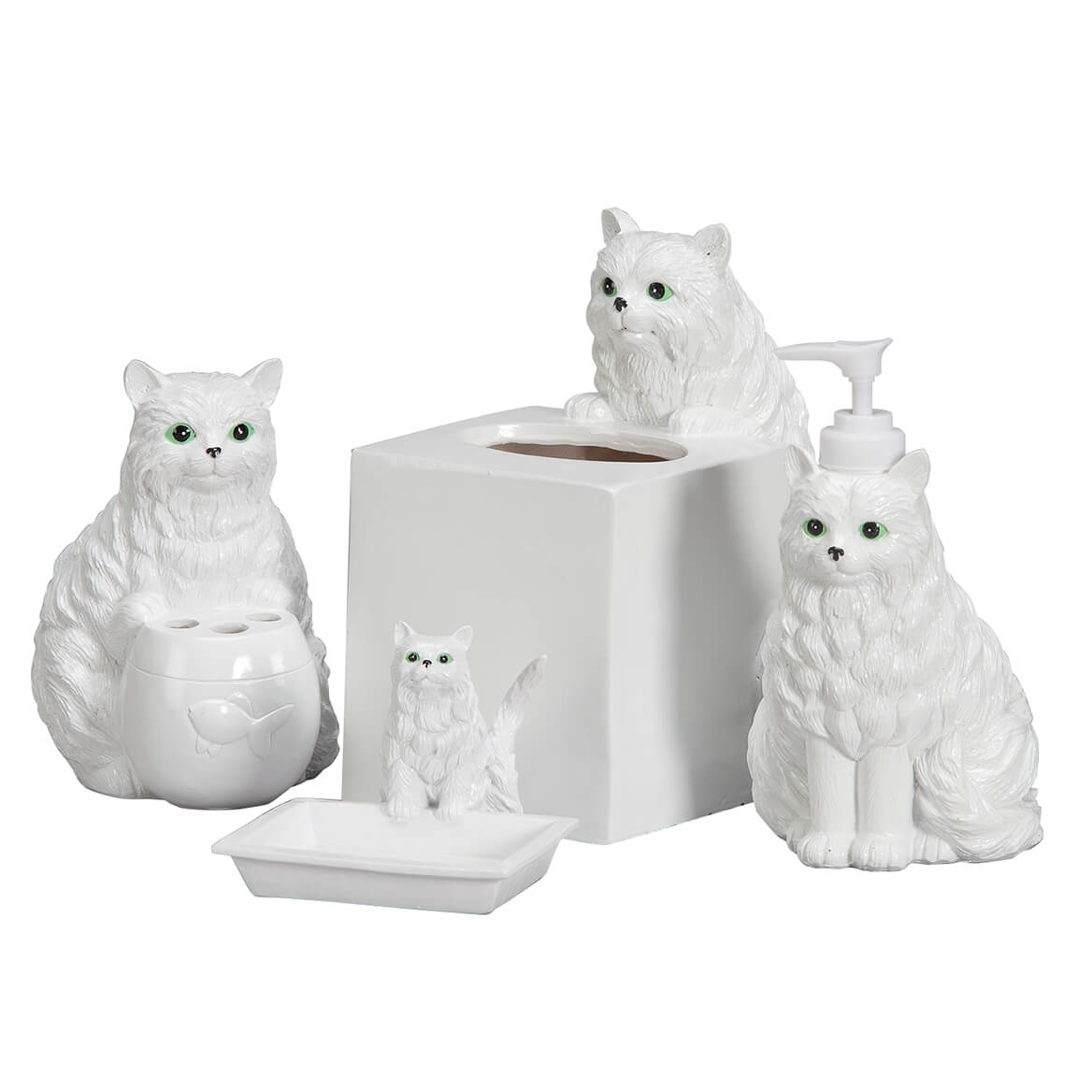 Playful Cat Bathroom Accessories, Set of 4 - Soap Dish - Walter Drake
