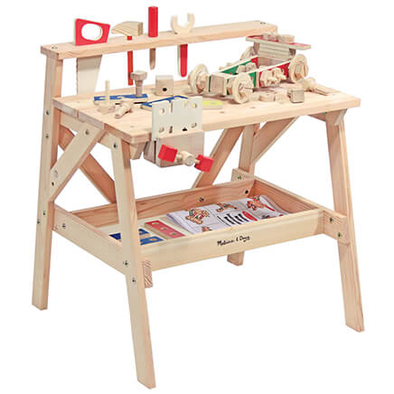 Melissa & Doug Wooden Project Workbench VR Keeping little builders busy while inspiring imaginative design, this sturdy Melissa & Doug Wooden Project Workbench is sized for kids ... and built to last. A hands-on favorite right down to the nuts and bolts, the toy workbench set includes a functioning vise, tool rack, five wooden tools and 55 wooden construction pieces, along with a handy storage shelf. Empowering creative play while helping build hand-eye coordination for girls and boys, it also includes ideas to spark young imaginations! Kids tool bench measures 26  long x 18 3/4  wide x 24  high. Ages 3 and up. SMALL PARTS. Not for < 3 yrs. Adult assembly required. Allow 2-3 weeks for delivery. No express shipping.