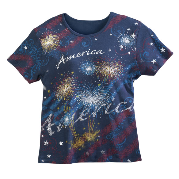 America Fireworks T-Shirt Put on your own fireworks display with this America Fireworks T-shirt you'll love for patriotic holidays or any day! Designed with a touch of glitter for added glamour, it boasts a flattering silhouette that's not too slim or too loose--offering ultimate comfort in soft, 100% cotton. Printed on a background of solid navy, the stylish patriotic T-shirt features solid navy back and sleeves. Machine wash cold. Imported.