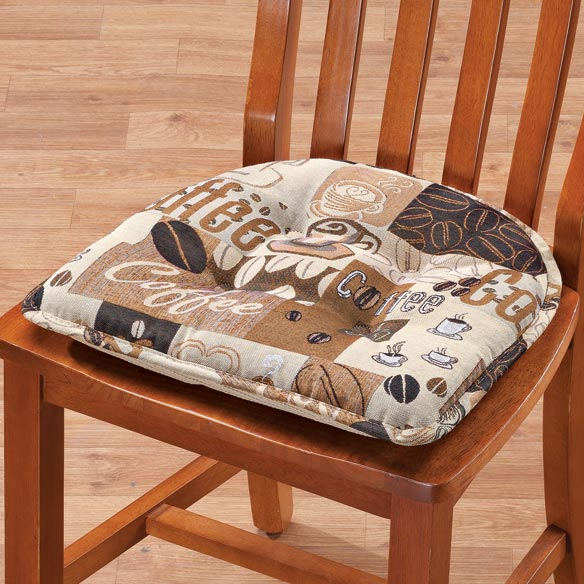 Coffee Chair Pad Cushioning chairs in decorative style, this coffee chair pad boasts warm, neutral colors--and once you're seated, it's all about comfort. Plumped with soft polyester fill for  lounge-awhile  ease, the seat pad's slip-resistant gripper backing adheres to kitchen or dining chairs without ties or fuss. Chair cushion made with 80% polyester/20% cotton; spot clean. 16  long x 15  wide x 2  high. Imported.