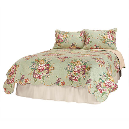 English Garden Quilt Limited quantity! Enjoy the sweetest dreams under this cotton English Garden quilt. Vintage design adds traditional charm to any bedroom. The quality is in the details, including all-over topstitching and a modern scalloped edge. This cozy quilted bedspread and coverlet will keep you warm in winter and cool in summer. Quilt bedding available in 3 sizes. Cotton facing and fill, ivory polyester backing. Machine wash cold, gentle; line dry; no bleach. Complete your bedding ensemble with our coordinating English Garden sham (sold separately).