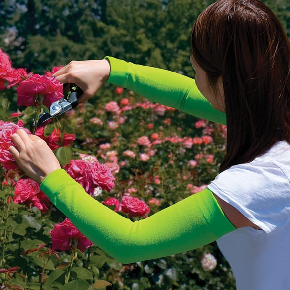 Gardening Sleeves Gardening sleeves take the scrapes and stings out of yard work while adding natural sun protection. Soft, breathable fabric arm sleeves cover from wrist to upper arm to protect skin from branches, thorns, insects, poisonous plants and sunburn. Perfect for gardening, landscaping, picking fresh fruits and veggies, and other outdoor hobbies. Comfortable, 17  L protective sleeves stretch to fit most. 95% nylon/5% spandex. Hand wash in warm water; air dry.