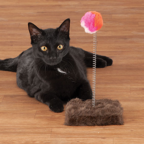 Cat Toy Punch Ball Cats can't resist the spring-mounted action of this cat toy punch ball! Soft, furry ball provides hours of interactive entertainment as kitty bats it back and forth. The sturdy, faux fur base is perfect for scratching and nuzzling. Cat ball toy measures approx. 5 1/2  sq. x 11  H., the ideal size for keeping your cat active and happy in any room in the house.