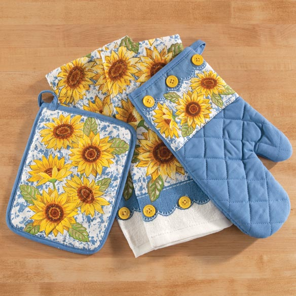Sunflower Kitchen Linens, Set of 4 Add bright, sunny style to your kitchen with these hardworking Sunflower kitchen linens--all artfully designed in quality 100% cotton. Perfect for hostess gifts or newlyweds, the 4-piece set includes two 16  x 16  dish towels, one 9  x 7  pocket-style pot holder and one quilted 12 1/2  x 6 3/4  oven mitt. Pot holder and mitt include thoughtful hanging loops; towels and mitt feature decorative buttons ... and all four pieces are machine washable. Imported.