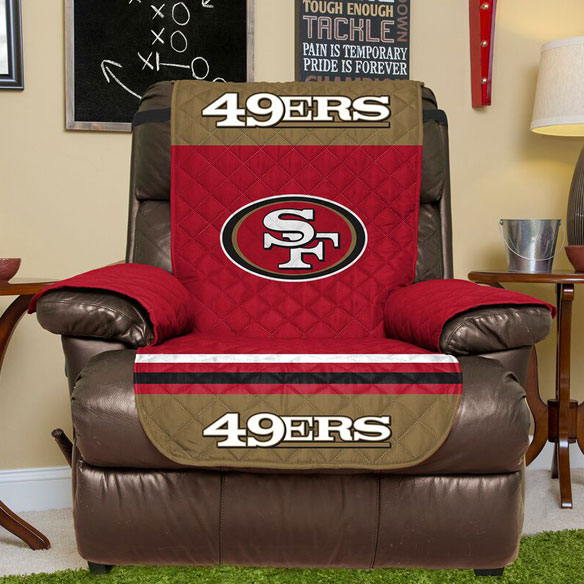 NFL Recliner Furniture Protector, 80  x 65  Make yours the best seat in the house! Show your support for your favorite football team on game day or every day with this NFL recliner furniture protector. Durable, one-piece recliner cover features team name and logo, a stay-in-place strap, and armrest covers to protect your favorite recliner from spills and wear. Choose from 10 teams: Packers, Bears, Broncos, Cowboys, Eagles, 49ers, Giants, Patriots, Seahawks or Steelers! Easy-care 100% polyester; machine wash and dry. Furniture cover measures 80  L x 65  W.
