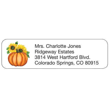Personal Design Labels Pumpkin Welcome autumn with these charming personalizedonal design pumpkin labels. Self-adhesive return address labels are perfect for all your fall correspondence. Personalize up to 4 lines, 26 characters each. Set of 200 mailing labels; each 2 1/4  W x 5/8  H.
