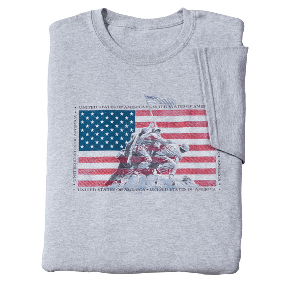 American Heroes T-Shirt Celebrating America's bravest and best, our American Heroes T-shirt pays proud salute in classic American style. Perfect for patriotic holidays or any day, this comfy America T-shirt makes a thoughtful gift for your own favorite hero ... or anyone wishing to express gratitude and pride. Specify size: medium, large, XL or XXL. Patriotic shirt made with 90% cotton/10% polyester; machine wash. Imported.