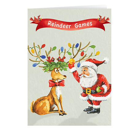Reindeer Games Christmas Card Inside: May your Holidays be Merry and Bright Full of fun and cheer, this lighthearted greeting depicts a silly moment between Santa and one of his fearless fliers, festively adorned with Christmas lights. Your family and friends will enjoy getting a chuckle when they open your greeting. White card stock with matte finish single folds to 5x7 ; white envelopes included. Personalization: Specify names as they are to be printed on the cards. Set of 20 Save on additional sets! For non-personalizedonalized cards, simply select one of the two options below and leave the personalizedonalization area blank while ordering.