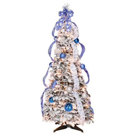 4 foot fully decorated flocked pull up tree by northwoods 356286
