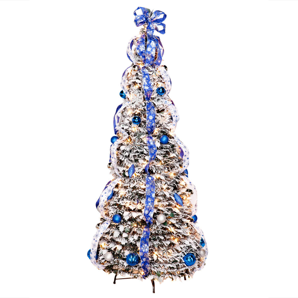 6 foot fully decorated flocked pull up tree by northwoods - Pull Up Christmas Trees Decorated