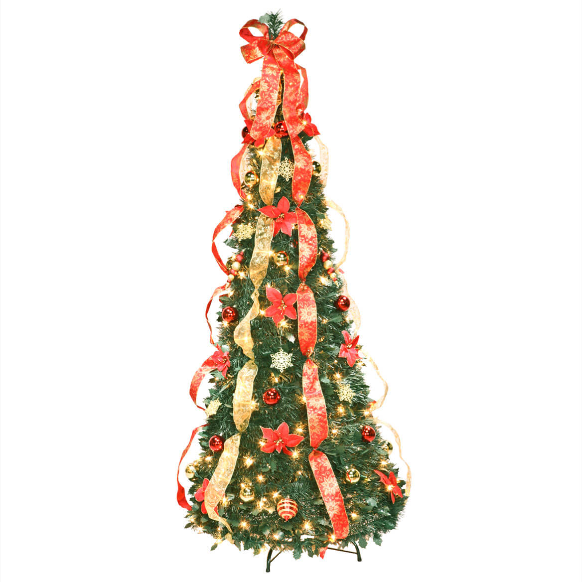 6 ft Fully Decorated Prelit Poinsettia Tree - Walter Drake