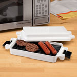 Microwave Griller Enjoy great grilled flavor in minutes! Microwave griller is perfect for preparing burgers, hotdogs, breakfast meats and much more, without the hassle of warming up an oven or outdoor grill. The height-adjustable sides accommodate thicker items for splatter-free microwave cooking, and the non-stick grilling surface makes cleanup easy. Dishwasher safe. Compact grill measures 10 7/8  L x 5  W x 2 1/4  H. Durable plastic.