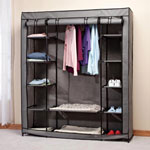 "Clothing Wardrobe with Shelves XL, 58-3/4"" x 68-1/2"", Black/Gray"