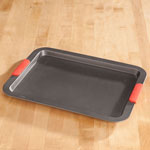 Large Baking Sheet w/ Red Silicone Handles, Silver