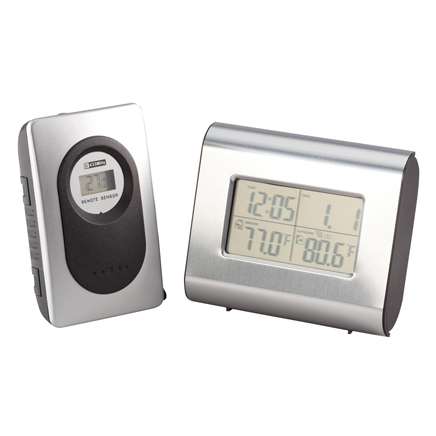 Wireless Weather Station Clock Wireless weather station clock helps you stay on top of time and temp at a glance! Versatile, wireless clock displays time, date, and indoor and outdoor temperatures. In addition to Fahrenheit indoor temps, this compact, digital weather clock includes an outdoor sensor that wirelessly transmits to the indoor receiver up to 328 feet away, providing an accurate, up-to-the-minute reading of the weather outside. Advanced time features include 12/24 hour display, 2 alarms with snooze options ranging from 5 to 30 minutes, 4 time zone settings (PST, MST, CST or EST), and hour/minute/seconds with dot display. You can also choose from weekday with date or monthly calendar display through 2029. Four AAA batteries required (not included). Receiver is 4  x 3 1/4  x 1 1/2 ; sensor is 3 3/4  x 2 1/4  x 1 .