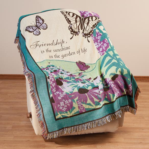 Butterfly Garden Tapestry Throw by OakRidge Exclusively from Walter Drake! You'll treasure this colorful Butterfly Garden Tapestry Throw by OakRidge ComfortsTM. Surrounded by butterflies and purple flowers, the inspirational quote reads,  Friendship, is the sunshine in the garden of life.  Generously sized at 50  x 60 , this tapestry blanket is perfect for draping over a sofa or recliner or hanging on a wall to brighten your decor. Makes a great gift! Soft polyester/cotton blend is machine washable. Imported