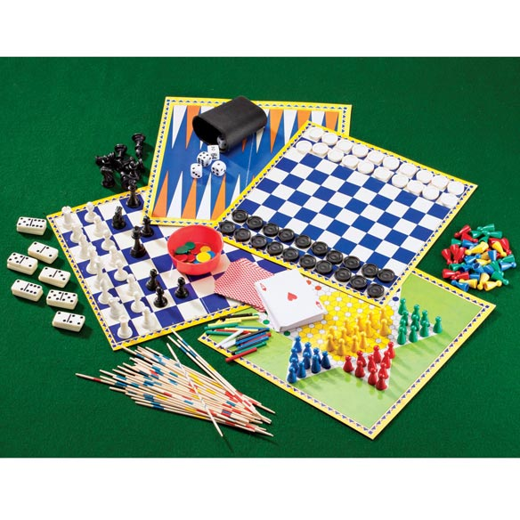 100 Games in One Set includes an array of over 100 classic games, made with premium quality materials, all inside a gift box. Deluxe style classic game sets, Chess, Backgammon, Dominoes and Cribbage sets plus other classic games for kids of all ages never go out of style. Guaranteed for long-lasting fun after the batteries run out in everything else. Storage box measures 3  x 12 1/2  x 12 1/2 .