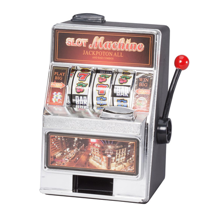 Small Slot Machine and Bank Bring the excitement of a Las Vegas casino to your own home, office or Dorm! This Lucky Las Vegas Casino MINI Slot Machine Toy is an actual working slot machine bank with pay out ability. Wide spinning wheels with chrome bevel and tray give a professional, seamless look. Accepts 98% of world coins, manual and jackpot coin returns. 4  long x 5 1/2  wide x 7 1/4  high.