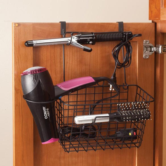 Over the Cabinet Door Blow Dryer & Curling Iron Organizer Basket conveniently slides over a standard cabinet door to store hair care items off countertops and discreetly out of view. 10 1/2  L x 6  W x 6  D basket is perfect for storing styling tools, products and cords. Holster holds a blow dryer up to 3 3/4  dia., and 2 pairs of J-hooks neatly hold curling irons, flat irons or hairbrushes. Installs in seconds -- no tools or drilling required. Sturdy black coated wire